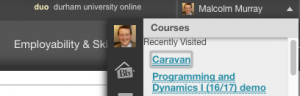 The My Blackboard menu - accessible at the top right of duo