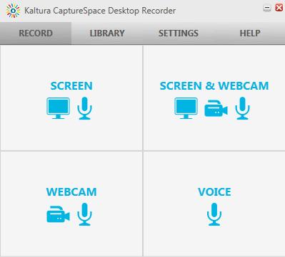 Kaltura CaptureSpace Lite Home Screen