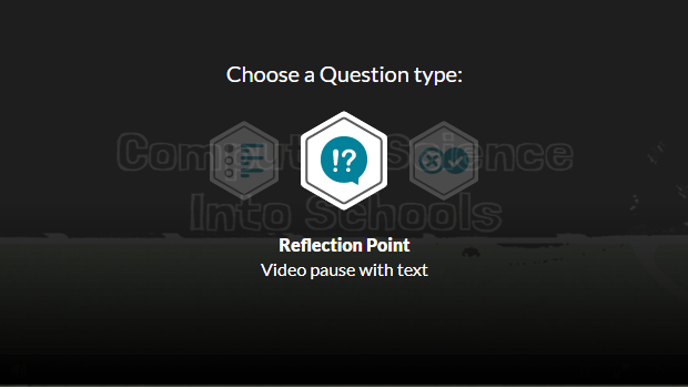 Kaltura reflection point question for a video quiz