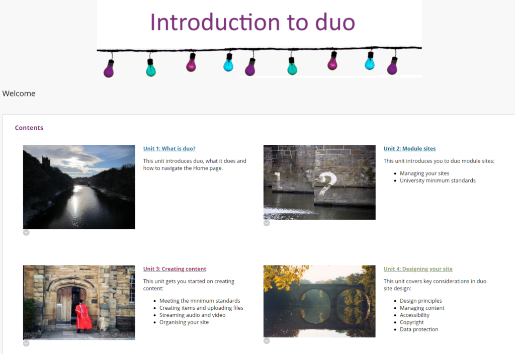 Self-guided intro to duo home page