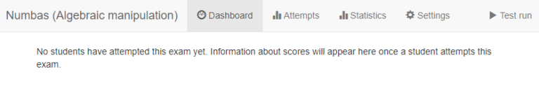 numbas exam dashboard