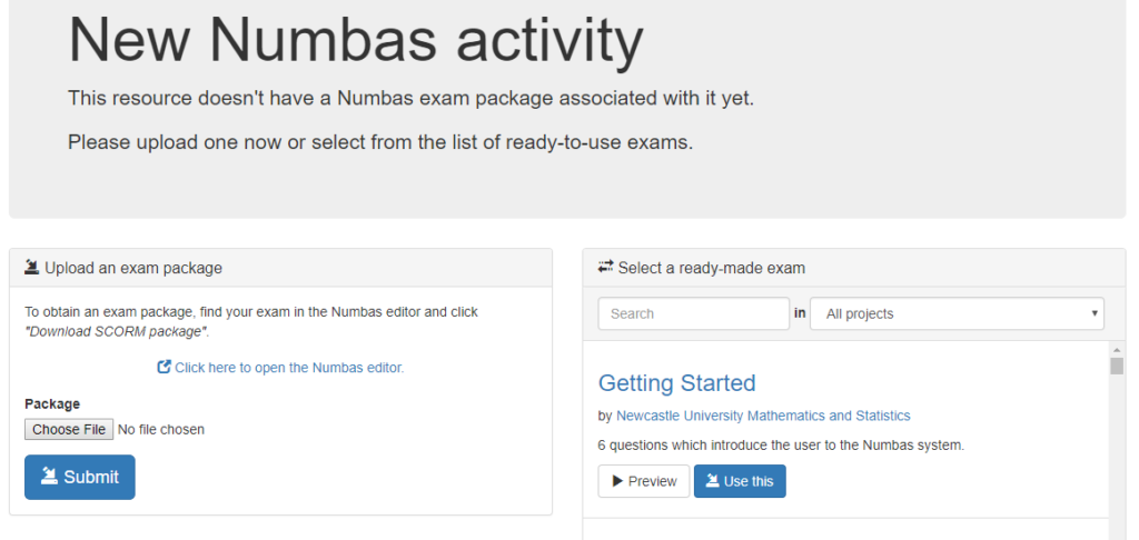 new numbas activity page