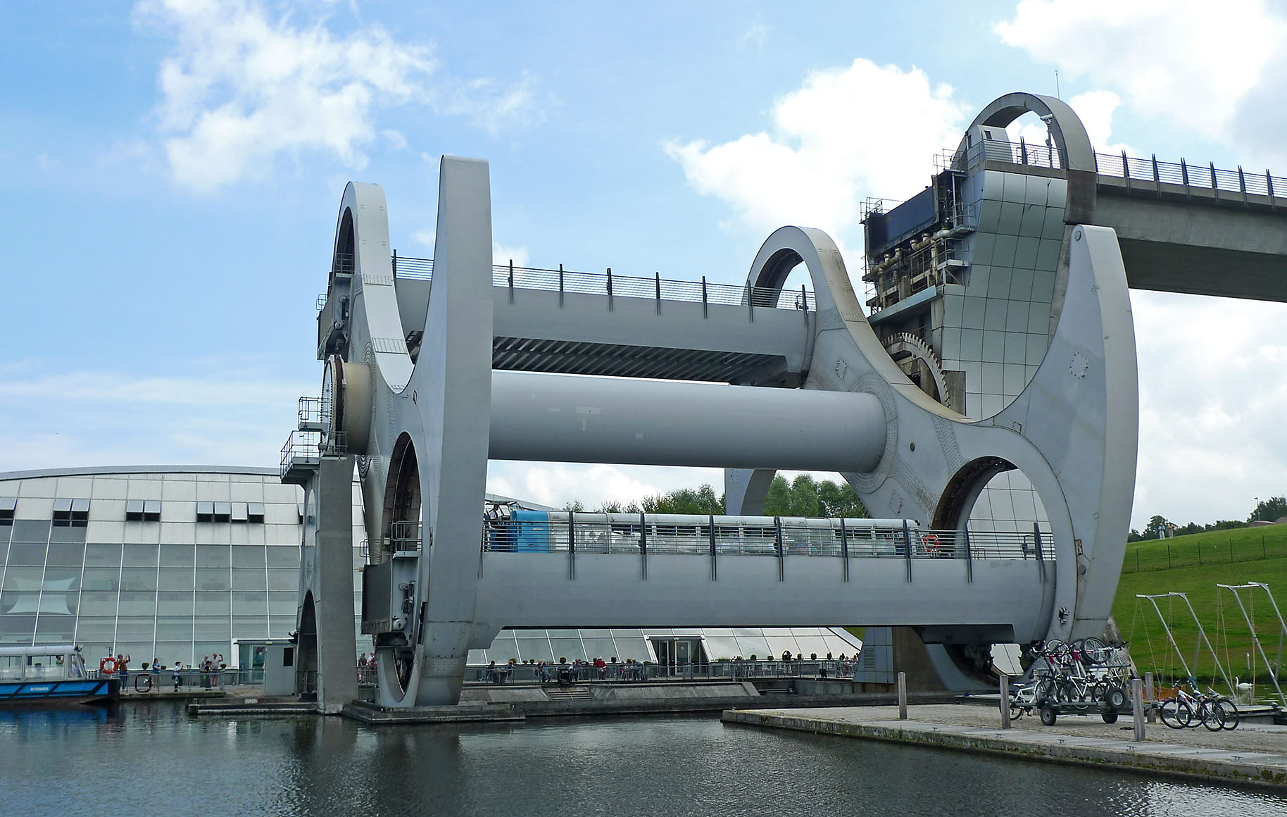 Falkirk wheel which lifts boats 24 m 79 feet from the union canal to