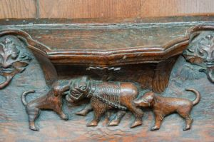 Two dogs baiting a bear: a misericord in St Mary's church, Beverley