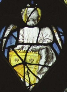 Angel with clavicymbalum: 15C window in church of Notre-Dame, Caudebec-en-Caux, France. From http://www.apemutam.org/instrumentsmedievaux/pages/clavic.html (accessed 1.12.15).
