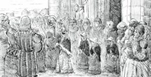 Drawing by Peter Gaber, specially commissioned for the exhibition, imagining the Boy Bishop in procession at Durham Cathedral with his attendants.