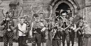 The players in the Abbots Bromley Horn Dance, circa 1900, reproduced via Wikimedia Commons. While the Durham oxen dance is no longer performed, the Abbots Bromley horn dance continues to this day.
