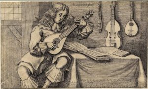'Man with Cithern', 1666. Plate from John Playford's Musicks Delight on the Cithern (print made by Richard Gaywood; after Francis Barlow).