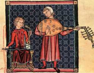'Minstrels with a Rebec and a Lute', Spanish, from the Cantigas de Santa Maria; 13th c. Manasseh Codex. El Escorial, Madrid.