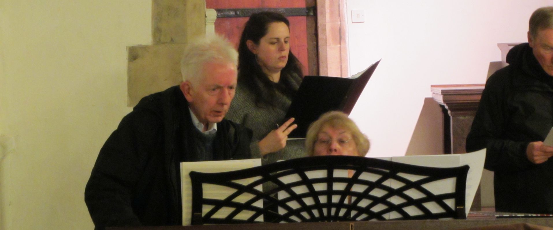 Rehearsing the music for Peregrini.