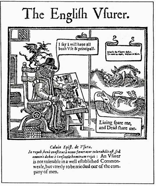 The Devil of Usury (woodcut). From John Blaxton's pamphlet against loan sharks, 'The English Usurer', printed by John Norton for Francis Bowman of Oxford, 1634.